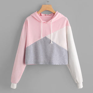 Fashion Long Sleeve Hoodie Sweatshirt Cotton Patchwork Pink &White&Grey
