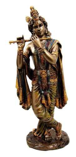 Lord Krishna (Avatar of Vishnu) - 10.25'' Tall  Flute Playing Figurine Statue - HolyHinduStore