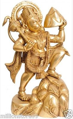 JAI Hanuman Carrying Mountain God Statue 16.5 '' Golden Brass Figure Hindu 10.2KG - HolyHinduStore