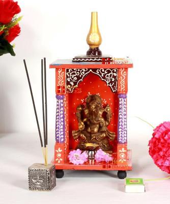 Wooden Handcrafted Hindu Temple / Home Mandir / Pooja Ghar / Mandapam for Worship - 6 x 6 x 12 Inch - HolyHinduStore