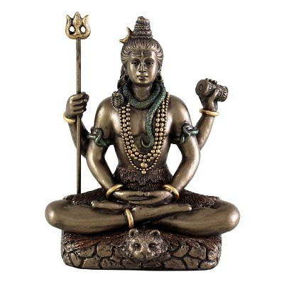 Hindu God Lord Shiva in Meditation Bronze Finish Figurine Sculpture Statue - HolyHinduStore