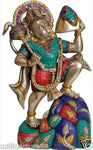 Hanuman Carrying Mountain God Statue 16.5''Silver Hue Brass Hindu 11.4KG - HolyHinduStore