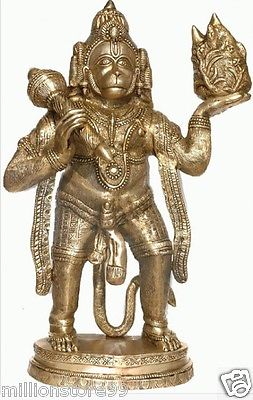 Hindu God Hanuman Carrying Mountain 34''Brass Large Statue Figure Size Art 36.7KG - HolyHinduStore