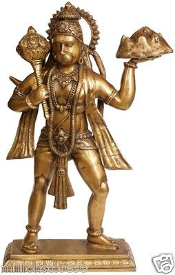 BIG GOD Hanuman Carry Mountain Statue 24'' Brass Golden Hindu Art Sculpture 13 KG - HolyHinduStore