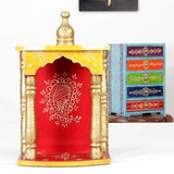 Wooden Handcrafted Hindu Temple / Home Mandir / Pooja Ghar / Mandapam for Worship - 9 x 5 x 14 Inch - HolyHinduStore