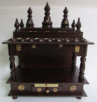 Wooden Hindu Temple / Handcrafted  Mandir / Brass Work / Wall Art - 15 X 8 X 18  inch - HolyHinduStore