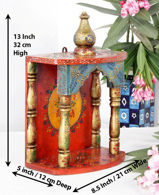 Wooden Handcrafted Hindu Temple / Home Mandir / Pooja Ghar / Mandapam for Worship - 8.5 x 5 x 13 Inch - HolyHinduStore
