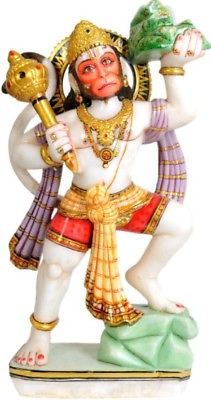 Hanuman Carrying Mountain 19.5''White Marble Craved Statue Hindu Figure - 13.6KG - HolyHinduStore
