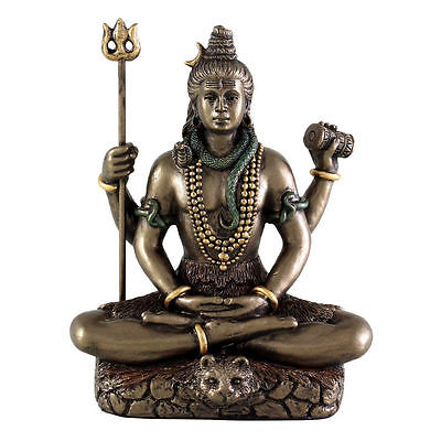 Hindu Shiva Statue in Meditation with Trident God Lord of Dance Miniature #3300 - HolyHinduStore