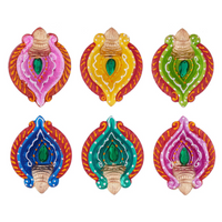Set of 6 Diwali Decorations Colorful Oil Lamp Diya For Pooja/Puja Home Decor (Mu - HolyHinduStore