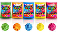 SOFT ON SKIN - Holi Color Powder RANG BARSE -Color Wars,Rangoli Powder,Gulal -PREMIUM QUALITY,NON-TOXIC & EASY CLEAN -5 Pack 100 G(3.5 oz) each Red,Green,Yellow,Blue,Orange - HolyHinduStore