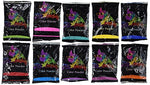 Holi Color Powder- BONUS pack.  70g each. Premium Colors- Red, Yellow, Navy Blue, Green, Orange, Purple, Pink, Magenta...Chameleon Colors - HolyHinduStore