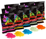 Holi UV Glow (Ultra Violet) Color Powder 12 Pack 70 Grams White,Yellow,Orange,Blue,Green,Pink - HolyHinduStore