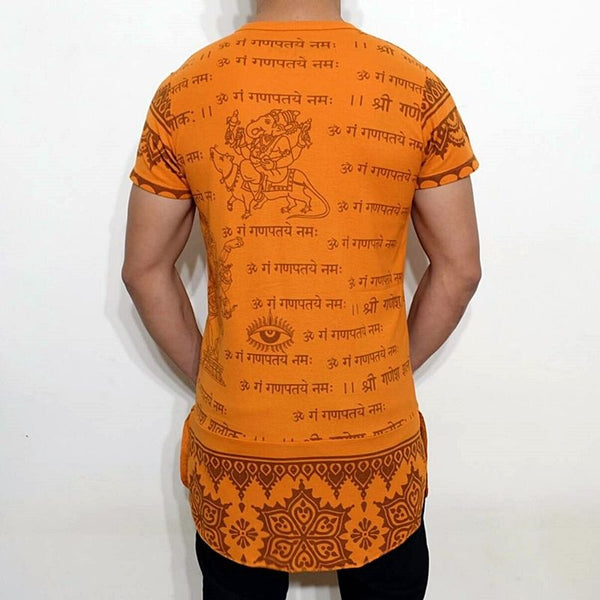 f89ee2d1 ... NEW MEN'S GANESH GANESHA INDIAN HINDU GOD OM SIGN SANSKRIT GRAMMAR LONG  T-SHIRT ...
