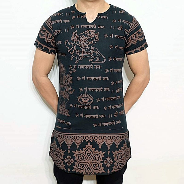 f551b796 NEW MEN'S GANESH GANESHA INDIAN HINDU GOD OM SIGN SANSKRIT GRAMMAR LONG T- SHIRT -