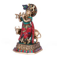 Krishna Statue - Brass Radha God Love Flute-  Metal Sculpture - HolyHinduStore