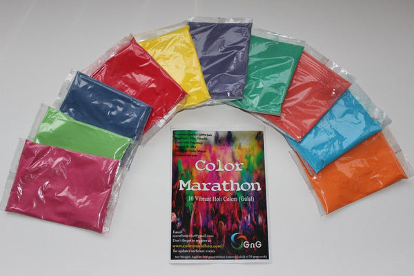 HOLI color run 10 COLORS 10 X 50g Pks - HolyHinduStore