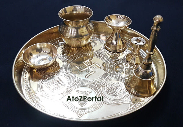 Gold Finished Plated Pooja Thali Sed With 6 Puja Item For Puja ReligiOus Gift - HolyHinduStore