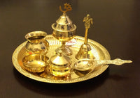 Brass Pooja Arthi Plate Pure Brass Arti Thali 7 piece Puja Room decorative Items - HolyHinduStore