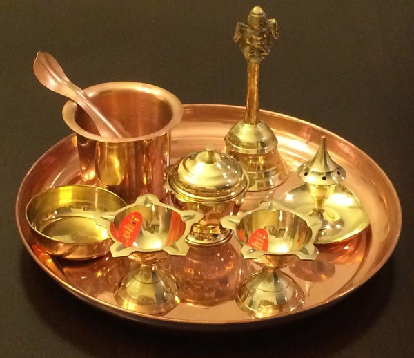 Pure Copper, Brass Arti Plate Pooja Arthi Thali Hindu Puja Room Decorative Items - HolyHinduStore