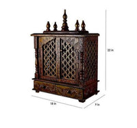 Wooden Hindu Temple / Home Mandir / Pooja Ghar / Mandapam for Worship - Handcrafted - 18 x 9 x 22 inch - HolyHinduStore