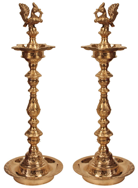 A Pair of Peacocks Lamp - Brass Statue - Puja lamp - HolyHinduStore