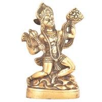IndianShelf Handmade Brass Golden Hanuman Statue Holding Mountain of Herbs Statement Pieces Online - HolyHinduStore