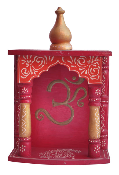 Home Temple / Wooden Temple / Pooja Mandir / Mandap / Wooden Temple / Mandir with om symbol Rajasthani emboss work on it, - HolyHinduStore