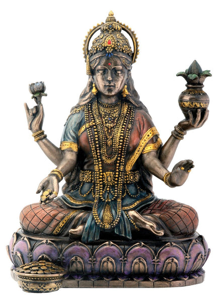 Bronze Hindu Goddess Lakshmi On Lotus Display Statue - HolyHinduStore