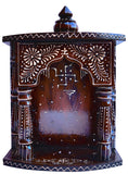 Hindu Religious temple made with wood , Hand Painted with emboss cone work with swasthik symbol - HolyHinduStore