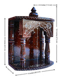 Temple made with wood - Hand Painted with emboss cone work with swasthik symbol - HolyHinduStore
