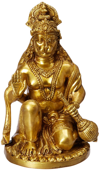 Lord Hanuman - Brass Statue (6.8 pounds - 9.3 inch ) - HolyHinduStore