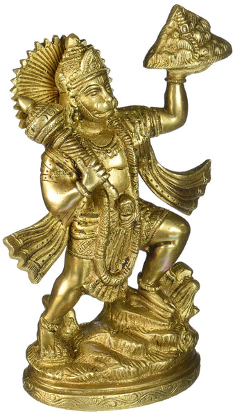 Gangesindia Lord Hanuman Carrying Herbs Mountain Brass Statue - HolyHinduStore