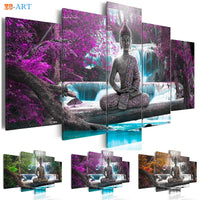 Buddha Statue Art - Waterfall Poster with frame