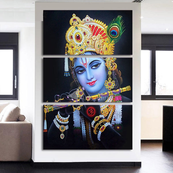 Radha Krishna Painting - Superior Quality Canvas Printed Wall Art Poster 3 Pieces / 3 Panel(Vertical) Wall Decor, Home Decor Pictures - HolyHinduStore