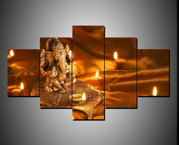 Lord Ganesha Statue Painting - Superior Quality Canvas HD Printed Wall Art Poster 5 Pieces / 5 Panel Wall Decor, Home Decor Pictures - HolyHindu