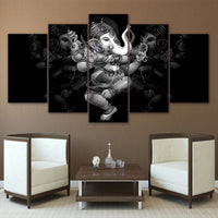 Ganesha Painting - Superior Quality Canvas Printed Wall Art Poster 5 Pieces / 5 Panel Wall Decor, Home Decor Pictures - HolyHinduStore