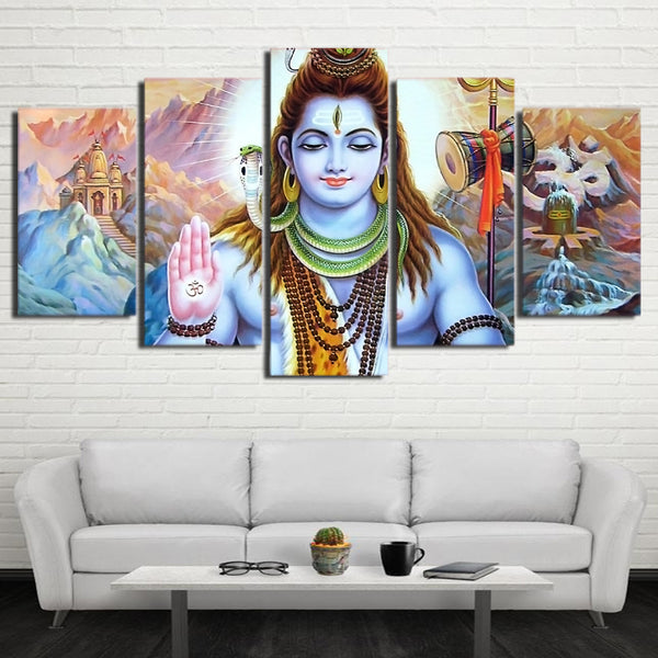 Shiva Painting - Superior Quality Canvas Printed Wall Art Poster 5 Pieces / 5 Panel Wall Decor, Home Decor Pictures - HolyHinduStore
