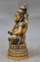 Lord Ganesha Reading Good Luck Bronze Statue - 7 inch - HolyHinduStore