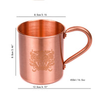 Durable Pure Copper Mugs - Coffee/Milk/Water Cup 450ml (16oz) - HolyHinduStore
