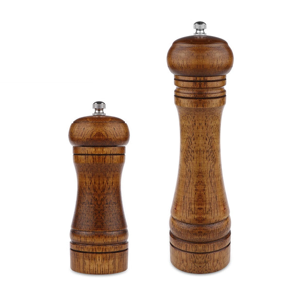 Salt And Pepper Grinder(5 and 8 Inch) - Hand Movement Oak Wood Pepper Mill With Ceramic Grinding Cord - Kitchen cooking Tools - HolyHinduStore
