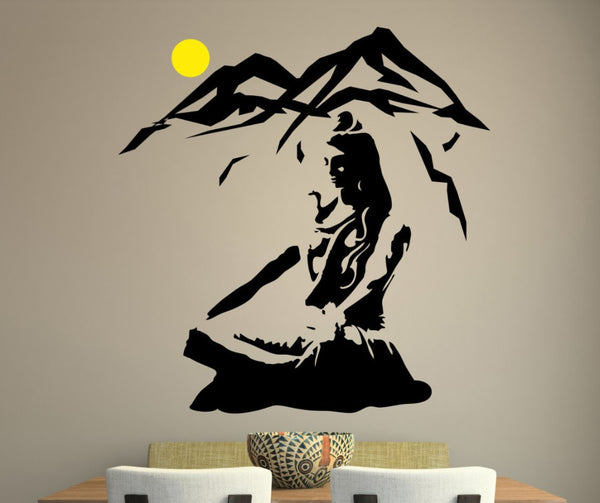 Lord Shiva Wall Sticker -  Lotus Pose Vinyl Wall Decal Mountain Meditation Home Decoration Hindu God Removable Art - HolyHinduStore