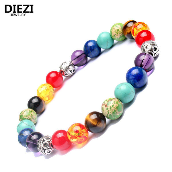 DIEZI Fashion Muti-color Mens Bracelets Lava 7 Chakra Healing Balance Beads Bracelet For Women Reiki Prayer Yoga Stones Bracelet - HolyHinduStore