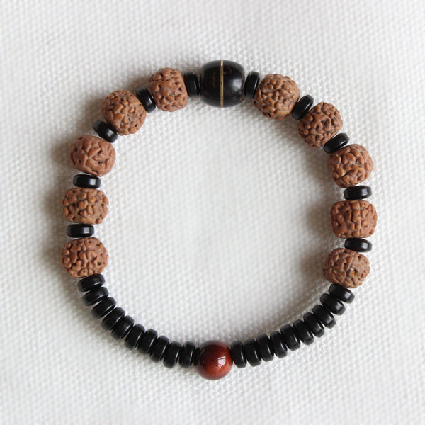 Coconut Shell With Rudraksha Tiger Eye Beads Bracelet - Unisex  Yoga/Healthy Jewelry