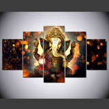 Lord Ganesha Painting - Superior Quality Canvas Printed Wall Art Poster 5 Pieces / 5 Panel Wall Decor, Home Decor Pictures - With Wooden Frame Option - HolyHinduStore