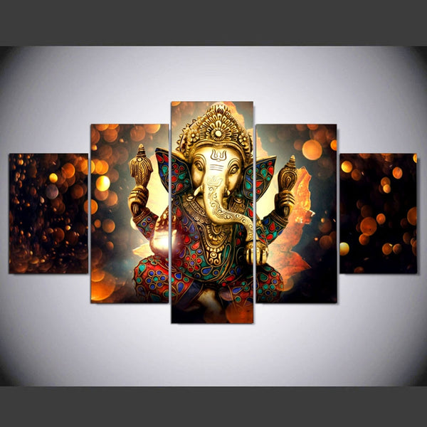 Lord Ganesha Painting - Superior Quality Canvas Printed Wall Art Poster 5 Pieces / 5 Panel Wall Decor, Home Decor Pictures - With Wooden Frame - HolyHindu