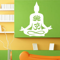 Yoga Lotus Pose Wall Decal Meditate Vinyl Wall Stickers For Yoga Studio Om Sign Hindu God Home Decor Meditation - HolyHinduStore