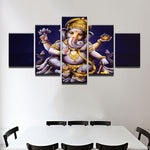 Ganesha Painting - Superior Quality Canvas HD Printed Wall Art Poster 5 Pieces / 5 Panel Wall Decor, Home Decor Pictures - With Wooden Frame - HolyHinduStore