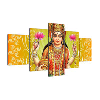 Canvas Painting Living Room Wall Poster 5 Panel Indian God Laksmi Frames In Modular Print  Modern Decoration Pictures - HolyHinduStore
