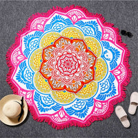 Toga Tapestry Beach Towel Sunblock Round Bikini Cover-Up Blanket Lotus Bohemian Yoga Mat - HolyHinduStore